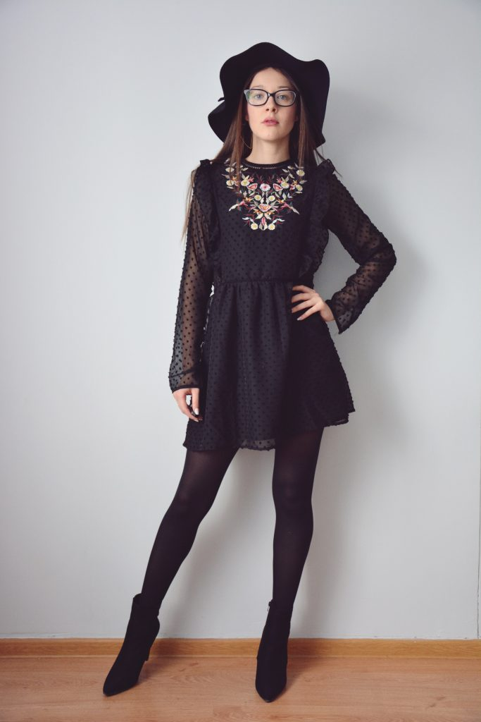 Floral Dress Black World Fashion Style Eve